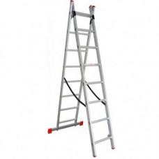 Алюминиевая двухсекционная лестница 2x8 ступеней ПРАКТИКА