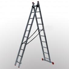 Алюминиевая двухсекционная лестница 2x10 ступеней ПРАКТИКА