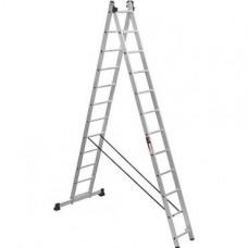 Алюминиевая двухсекционная лестница 2x12 ступеней ПРАКТИКА