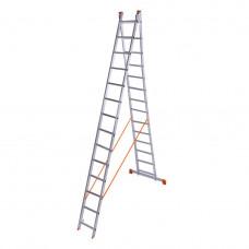 Алюминиевая двухсекционная лестница 2x14 ступеней ПРАКТИКА