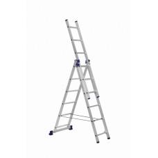 Алюминиевая трехсекционная лестница 3х6 ступеней DELTA