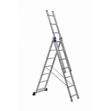 Алюминиевая трехсекционная лестница 3х7 ступеней DELTA
