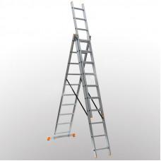 Алюминиевая трехсекционная лестница 3х10 ступеней DELTA