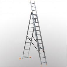 Алюминиевая трехсекционная лестница 3х11 ступеней DELTA