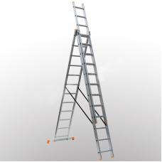 Алюминиевая трехсекционная лестница 3х12 ступеней DELTA