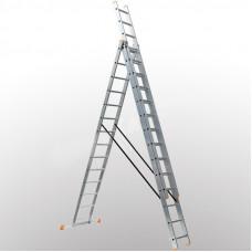 Алюминиевая трехсекционная лестница 3х14 ступеней DELTA