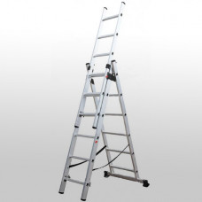 Алюминиевая трехсекционная лестница 3х6 ступеней КРОК