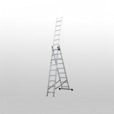 Алюминиевая трехсекционная лестница 3х10 ступеней КРОК