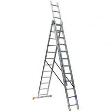Алюминиевая трехсекционная лестница 3х12 ступеней КРОК