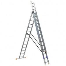 Алюминиевая трехсекционная лестница 3х14 ступеней КРОК